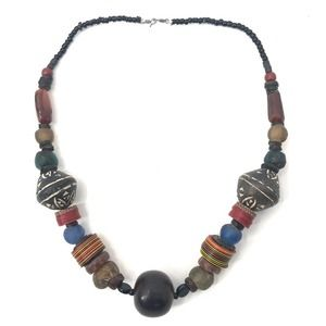 Multicolored Chunky Clay Beaded Statement Necklace
